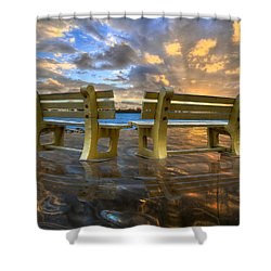 A Time For Reflection Shower Curtain by Debra and Dave Vanderlaan