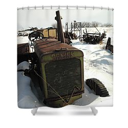 A Tractor In The Snow Shower Curtain by Jeff Swan