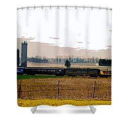 Shower Curtain featuring the photograph A Train Runs Through It by Nina Silver