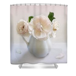 A Trio Of Pale Pink Vintage Roses Shower Curtain by Louise Kumpf