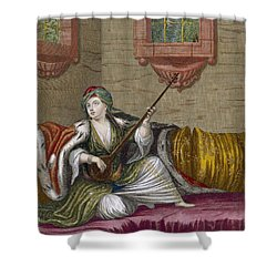 A Turkish Girl Playing The Tehegour Shower Curtain by French School
