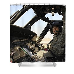 A Uh-60 Black Hawk Helicopter Shower Curtain by Stocktrek Images