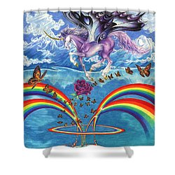 A Unicorn's Love Shower Curtain by Barry Munden