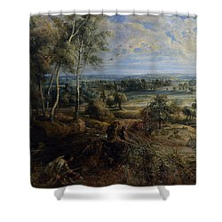A View Of Het Steen In The Early Morning Shower Curtain by Peter Paul Rubens