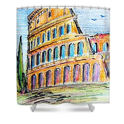 A View Of The Colosseo In Rome Shower Curtain
