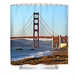 A View Of The Golden Gate Bridge From Baker's Beach  Shower Curtain by Jim Fitzpatrick