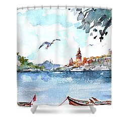 Shower Curtain featuring the painting A View Of The Historical Peninsula From Uskudar - Istanbul by Faruk Koksal