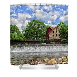 Shower Curtain featuring the photograph A View Of The Mill From The River by Debra Fedchin