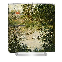 A View Through The Trees Of La Grande Jatte Island Shower Curtain by Claude Monet