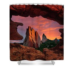 A View Through Window Rock At Siamese Twins Shower Curtain