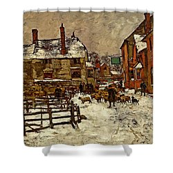 A Village In The Snow Shower Curtain by Henry King