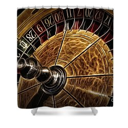 Shower Curtain featuring the photograph A Virginia City Roulette Wheel by Brad Allen Fine Art