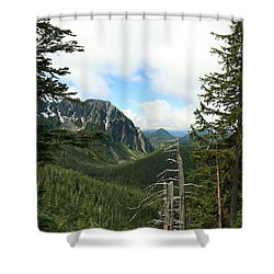 A Vista - Mt. Rainier National Park Shower Curtain