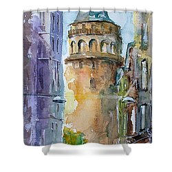 Shower Curtain featuring the painting A Walk Around Galata Tower - Istanbul by Faruk Koksal