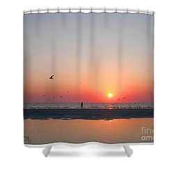A Walk At Sunset Shower Curtain by Mariarosa Rockefeller