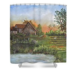 A Walk In The Garden Shower Curtain by Reb Frost