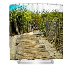 A Walk To The Beach Shower Curtain by Colleen Kammerer