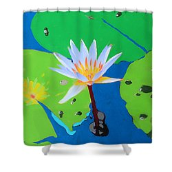 A Water Lily In Its Pad Shower Curtain
