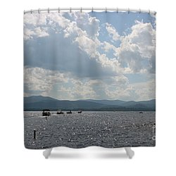 A Weekend On The Water Shower Curtain by Barbara Bardzik