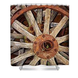 A Wheel In A Wheel Shower Curtain by Phyllis Denton