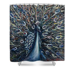 A White Peacock Shower Curtain
