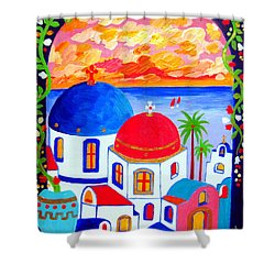 A Window Over Santorini Shower Curtain