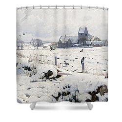 A Winter Landscape Holmstrup Shower Curtain by Peder Monsted