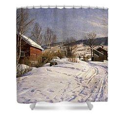 A Winter Landscape Lillehammer Shower Curtain by Peder Monsted