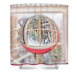 A Winter Marble From Christmas Past Shower Curtain