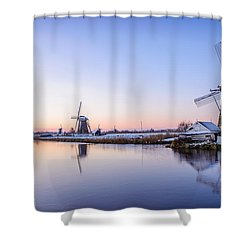 A Cold Winter Morning With Some Windmills In The Netherlands Shower Curtain