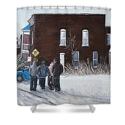 A Winter Walk In Montreal Shower Curtain by Reb Frost
