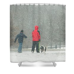 A Winter Walk In The Park - Silver Spring Md Shower Curtain by Emmy Marie Vickers