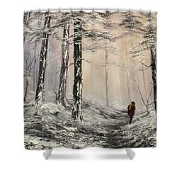 A Winter Walk Shower Curtain by Jean Walker