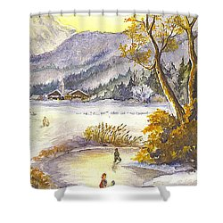 Shower Curtain featuring the painting A Winter Wonderland Part 2 by Carol Wisniewski