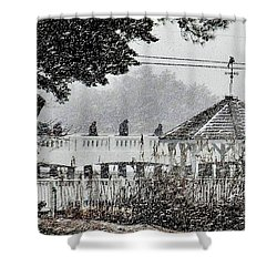 A Winter's Walk By Silver Lake Shower Curtain by Kim Bemis