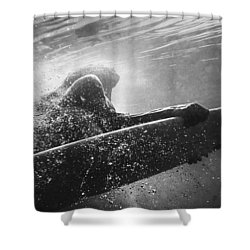 A Woman On A Surfboard Under The Water Shower Curtain by Ben Welsh