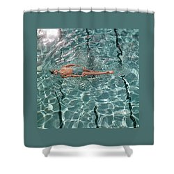 A Woman Swimming In A Pool Shower Curtain