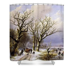 A Wooded Winter Landscape With Figures Shower Curtain by Verboeckhoven and Klombeck