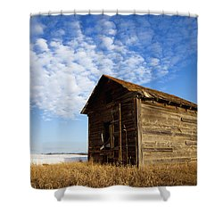 A Wooden Shed Stands Alone Shower Curtain by Steve Nagy
