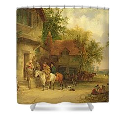 A Woodside Inn, 1841 Shower Curtain by William Snr. Shayer