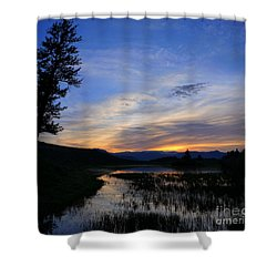 A Yellowstone Lake Before Sunrise Shower Curtain