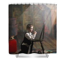 A Young Boy Praying With A Light Beam Shower Curtain by Pete Stec
