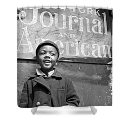 A Young Harlem Newsboy Shower Curtain by Underwood Archives