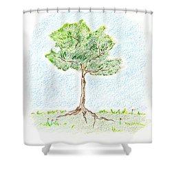 A Young Tree Shower Curtain by Keiko Katsuta