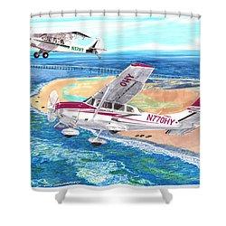 Cessna 206 And A1a Husky Shower Curtain by Jack Pumphrey