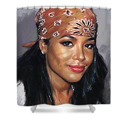 Shower Curtain featuring the drawing Aaliyah by Viola El