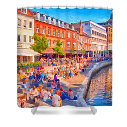 Aarhus Canal Digital Painting Shower Curtain by Antony McAulay
