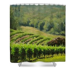 Abacela Vineyard Shower Curtain by Karen Ilari