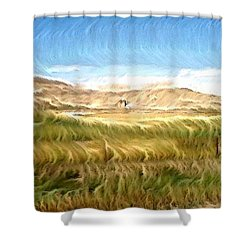 Shower Curtain featuring the digital art Abandoned Blockhouse by Aliceann Carlton