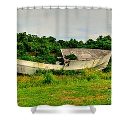 Shower Curtain featuring the photograph Abandoned Boat by Kathy Baccari